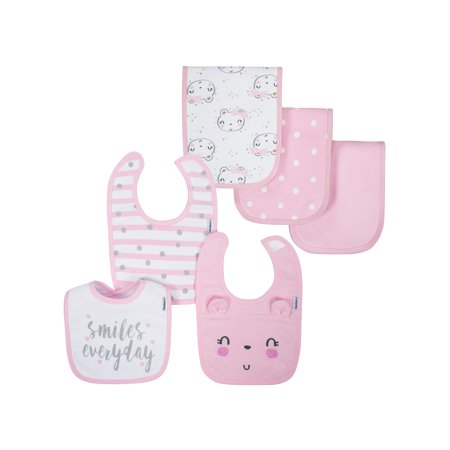 Gerber Organic Cotton Blend Terry Bib & Burp Baby Shower Gift Set, 6pc (Baby Girls) (Terry Cloth Clothes)