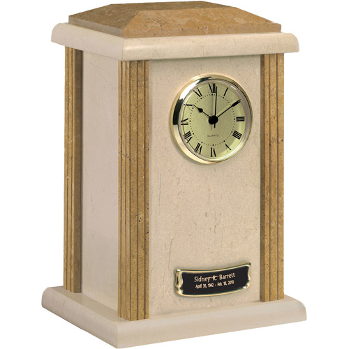 Star Legacy Deluxe Natural Marble Tower Clock Urn, Large/Adult, Cream/Earth Grain