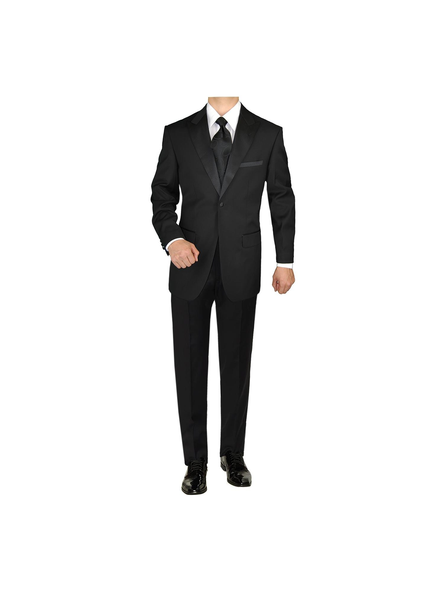 Wonder Stage Mens Slim Fit 4 Pc Black Tuxedo Suit Jacket Pants Cummerbund Bowtie