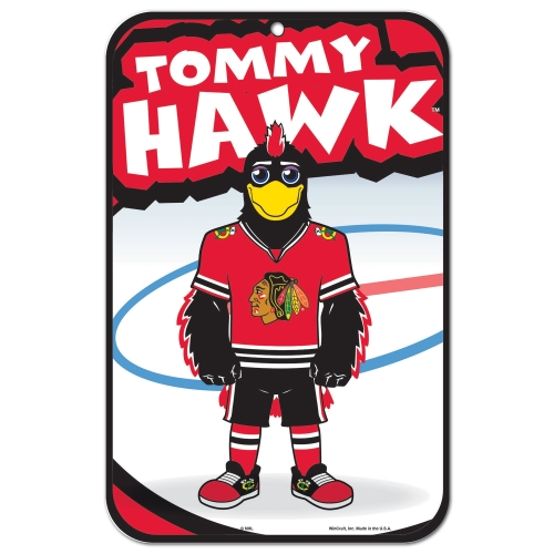 "Chicago Blackhawks Mascot WinCraft 11"" x 17"" Plastic Sign - No Size"