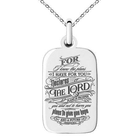 Stainless Steel Hope & Future Jeremiah 29:11 Engraved Small Rectangle Dog Tag Charm Pendant Necklace