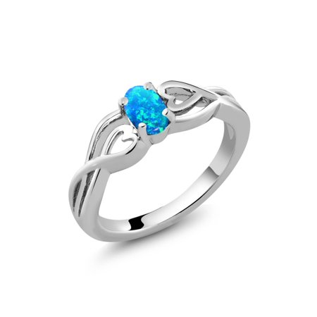 0.50 Ct Oval Cabochon Blue Simulated Opal 925 Sterling Silver Ring