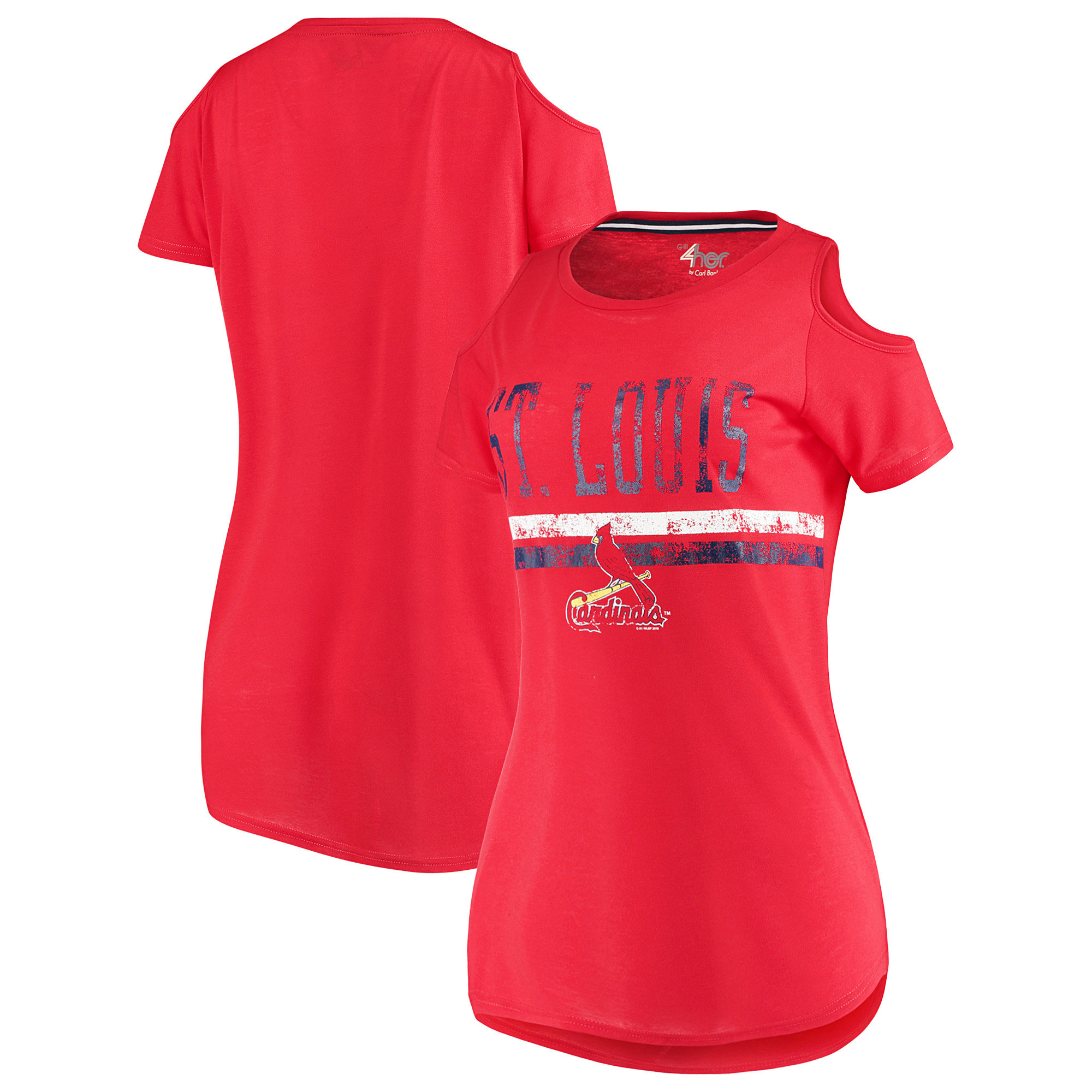 St. Louis Cardinals G-III 4Her by Carl Banks Women's Clear The Base Cold Shoulder Scoopneck T-Shirt - Red