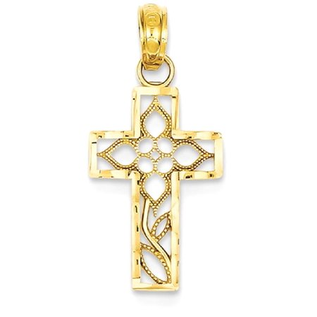 ICE CARATS 14kt Yellow Gold Filigree Cross Religious Pendant Charm Necklace Fancy Fine Jewelry Ideal Gifts For Women Gift Set From Heart