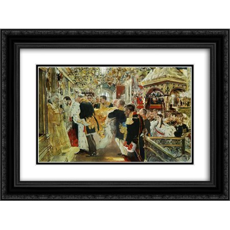 Uspensky Cathedral (Valentin Serov 2x Matted 24x20 Black Ornate Framed Art Print 'Coronation of the Emperor Nicholas II in The Uspensky)