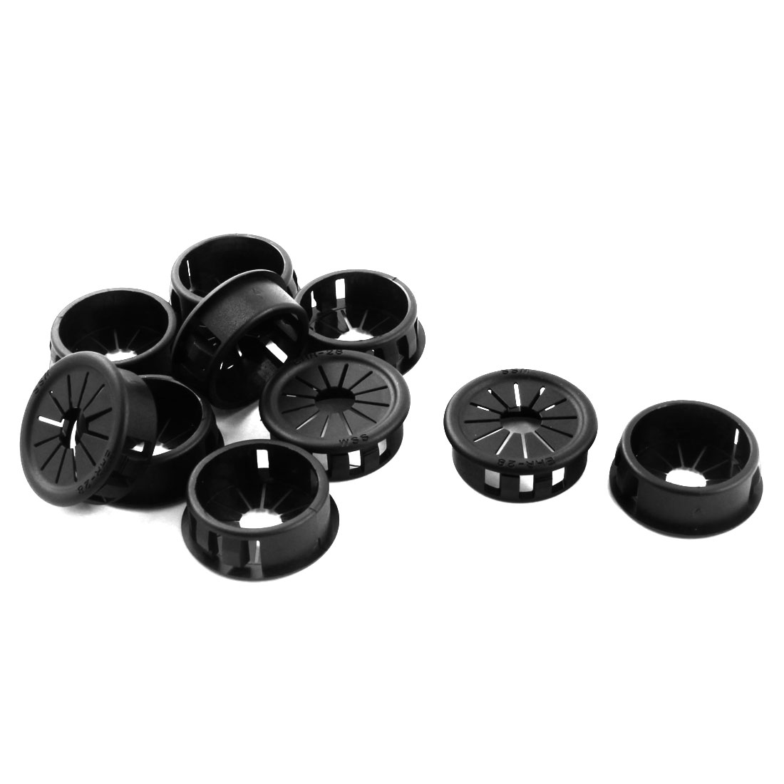 Unique Bargains 10Pcs 27.5mm Black Cable Pipe Snap in Lock Bushing Protector Grommet Harness