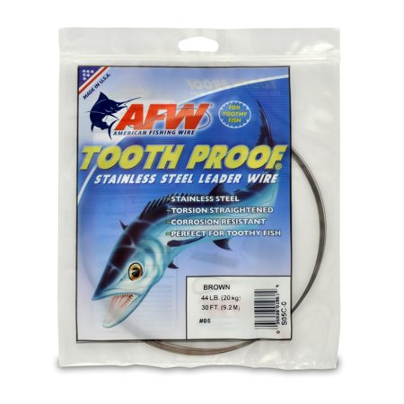 American Fishing Wire Tooth Proof Stainless Steel Single Strand Leader Wire, Size 8, Camo Brown Color, 86 Pound Test, 1/4 Pound Coil