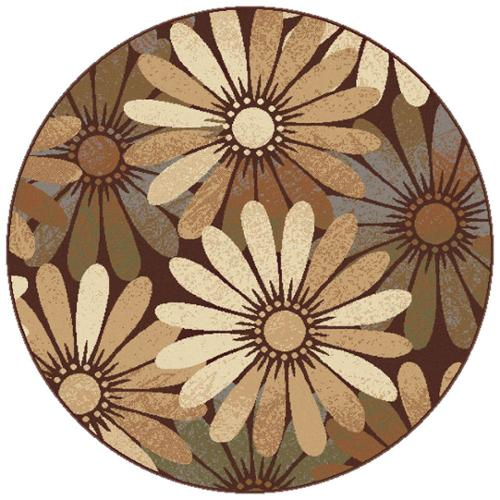 Floral Round Area Rug in Multicolor (5 ft. 3 in. Dia.)