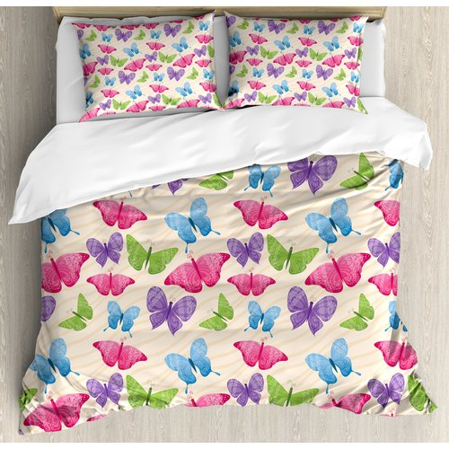 Ambesonne Modern Cute Butterflies in Vibrant Tones Mothes Spiritual WingsDesign Duvet Cover Set