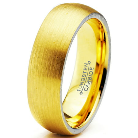 9210aee32c6ae Tungsten Wedding Band Ring 6mm for Men Women Comfort Fit 18K Yellow Gold  Plated Dome Round Brushed Polished Lifetime Guarantee | Walmart Canada