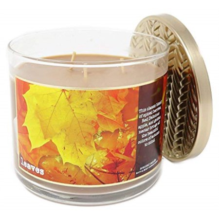 Bath & Body Works Home Leaves Scented 3 Wick 14.5 Ounce Candle Limited Edition 2017