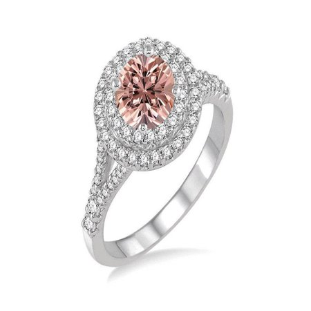 2 Carat Round Morganite and Diamond Double Halo Engagement Ring in 14k White Gold morganite and diamond engagement