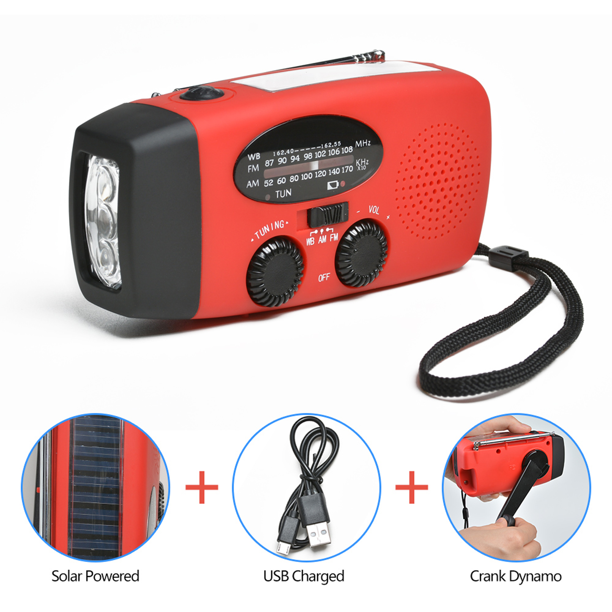 ODOLAND portable dynamo emergency solar hand crank radio LED Flashlight Smart Phone Charger by