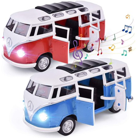 2 Packs School Bus Toys for Toddlers, Pull Back Car for Kids with Music, Sound and Opeable Door, Learning Educational Toys for Boys & Girls F-471 Toy Buses For Kids