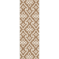 2.5' x 8' Chi-Chi Brown and Snow White Hand Woven Wool Reversible Area Throw Rug Runner