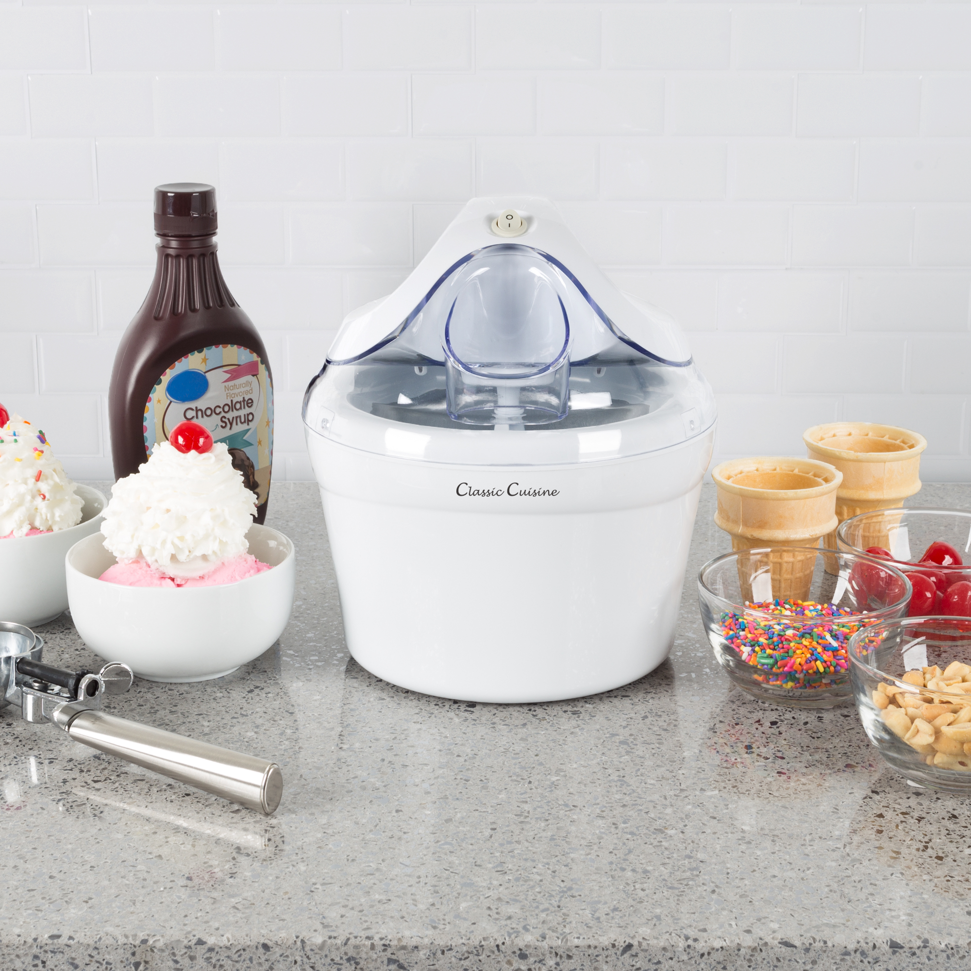 Ice Cream Maker- Also Makes Sorbet, Frozen Yogurt Dessert, 1 Quart Capacity Machine with Included Easy To Make Recipes by Classic Cuisine - White
