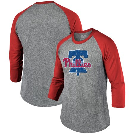 Philadelphia Phillies Majestic Threads Current Logo Tri-Blend 3/4-Sleeve Raglan T-Shirt - Heathered Gray/Red