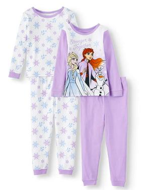 Frozen 2 Toddler Girl Snug Fit Cotton Long Sleeve Pajamas, 4pc Set