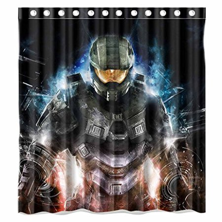 DEYOU Science Video Game Halo Shower Curtain Polyester Fabric Bathroom Size 66x72 Inches