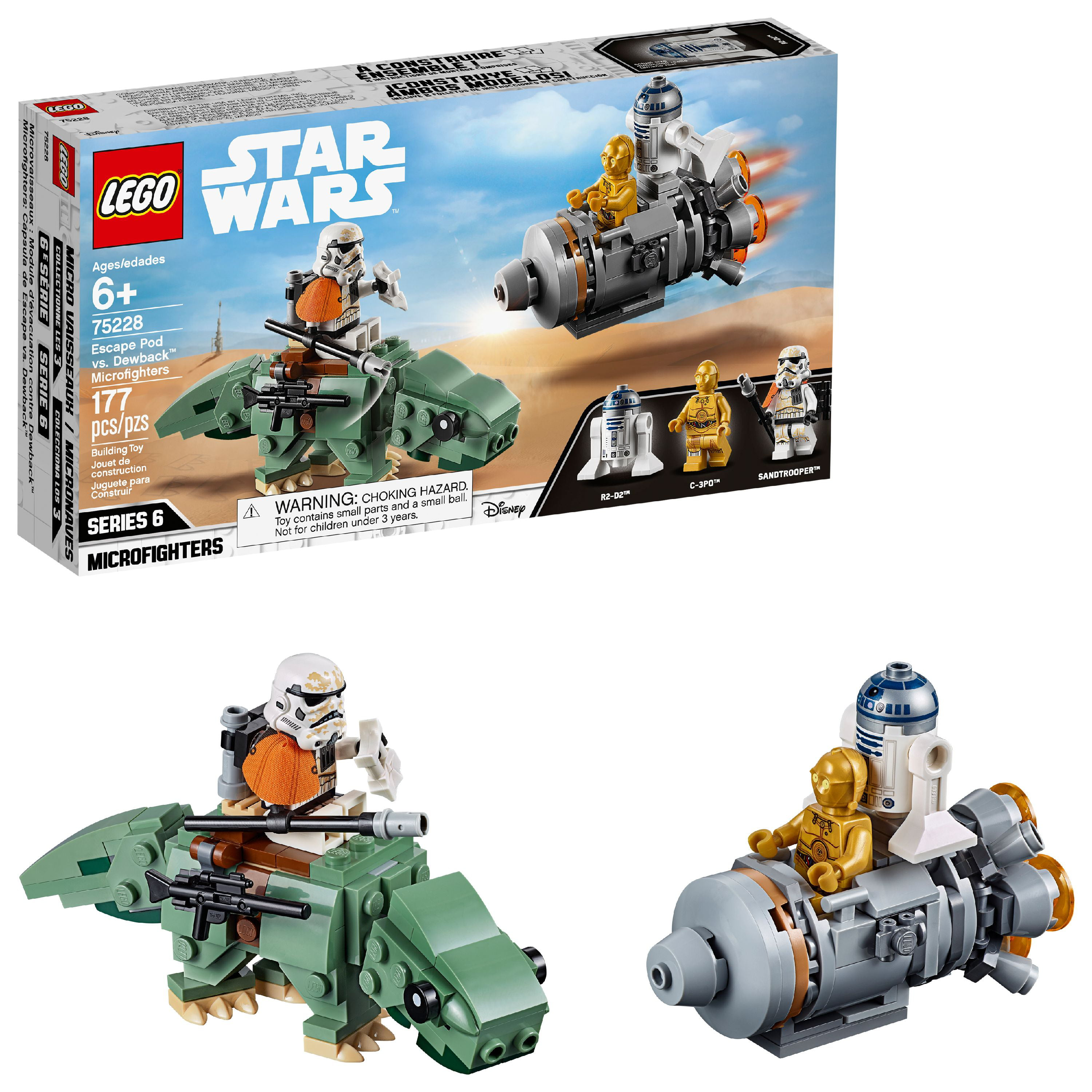 LEGO Star Wars Escape Pod vs. Dewback Microfighters 75228 Collectible Droid Building Set
