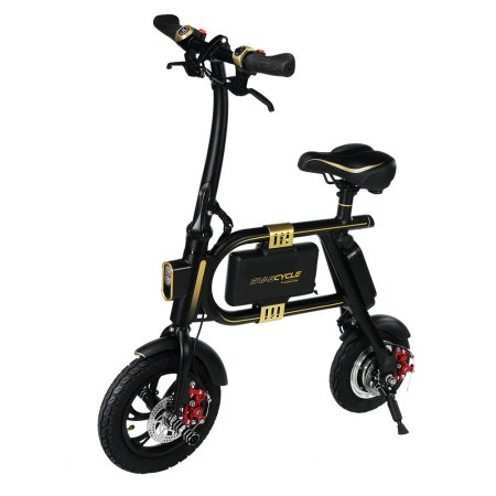 SWAGTRON SwagCycle E-Bike - Folding Electric Bicycle with 10 Mile Range, Collapsible Frame, and Handlebar Display (Black)