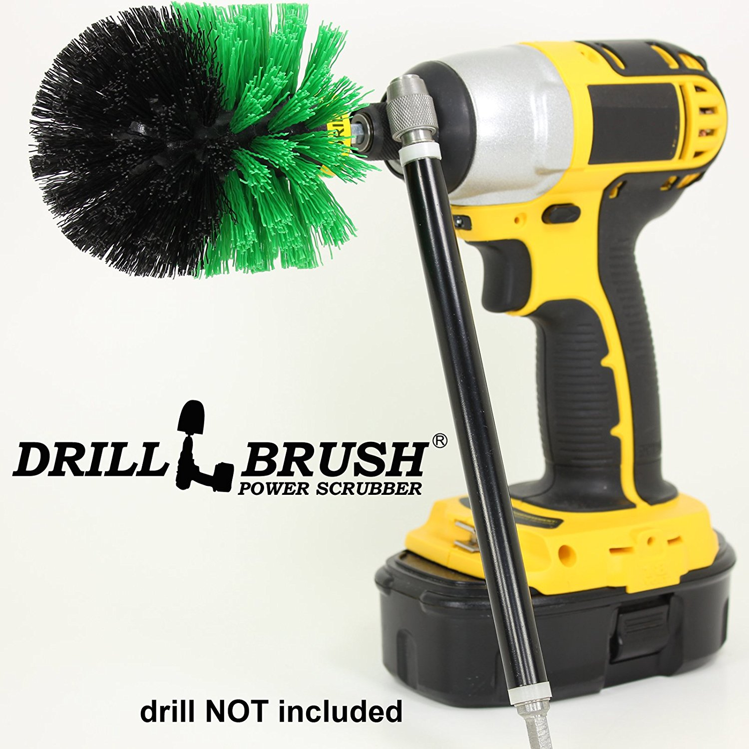 Drill Powered Kitchen and Bath Scrubbing Brush with Long Reach Extension by Drillbrush by Useful Products LLC
