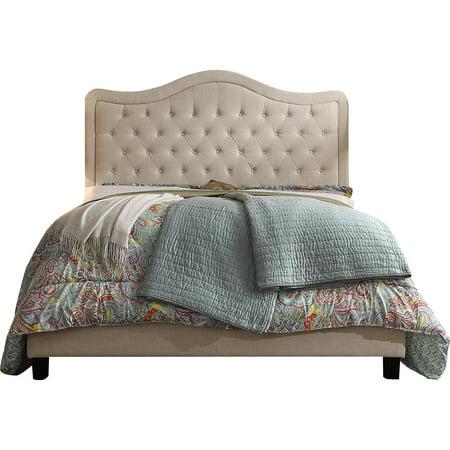 Image of Alton Furniture Agnella Full Upholstered Panel Bed, Beige