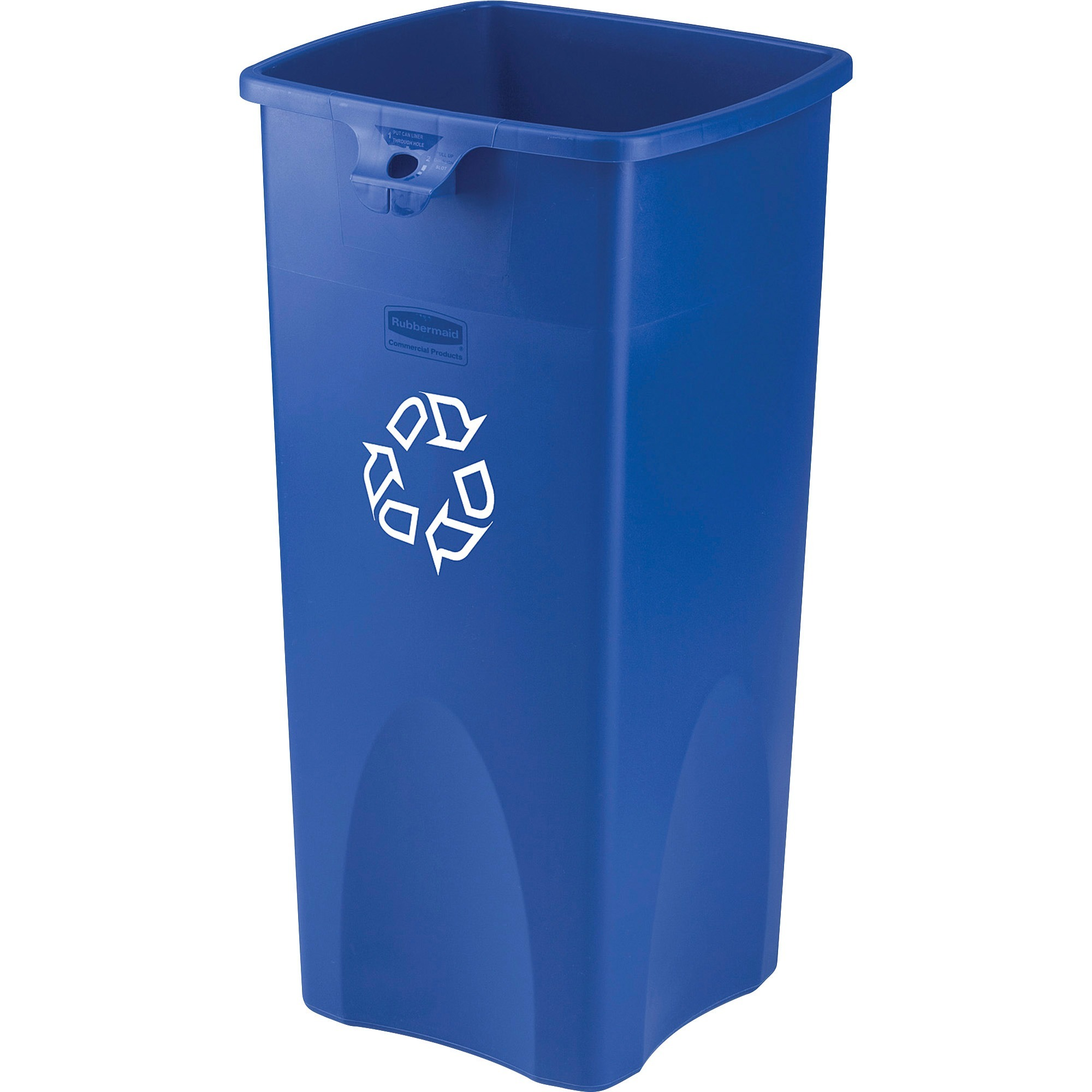 Rubbermaid Square Recycling Container, Blue