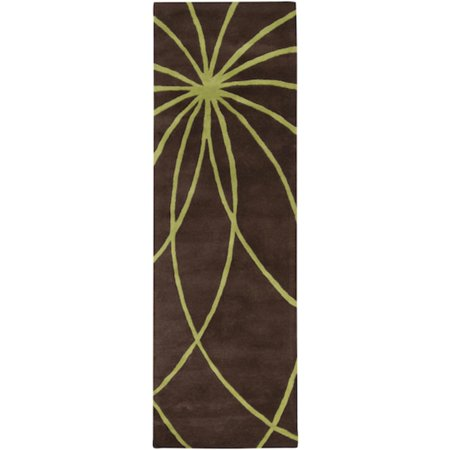 - 2.5' x 8' Plasma Elektra Contemporary Green and Brown Wool Area Runner Rug