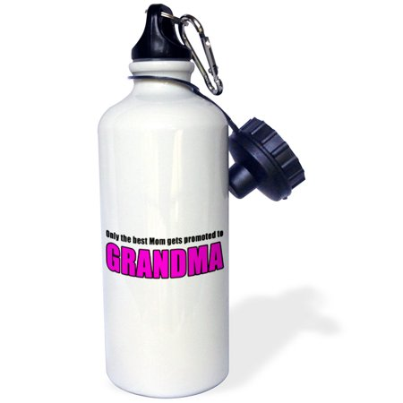 3dRose Only The Best Mom Gets Promoted To Grandma Pink, Sports Water Bottle,