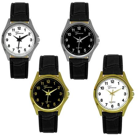Geneva Black Faux Leather Strap Watch