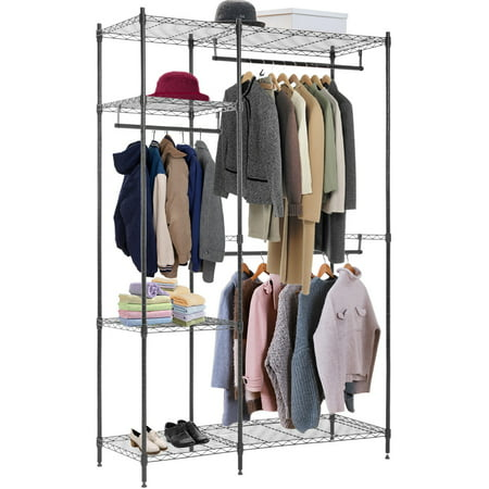 Hanging Closet Organizer And Storage Heavy Duty Clothes Rack Sturdy 3 Rod Garment Rack Large With Wire Shelving Height Adjustable Commercial Grade Metal Clothes Stand Rack For Bedroom (Stone Garment)
