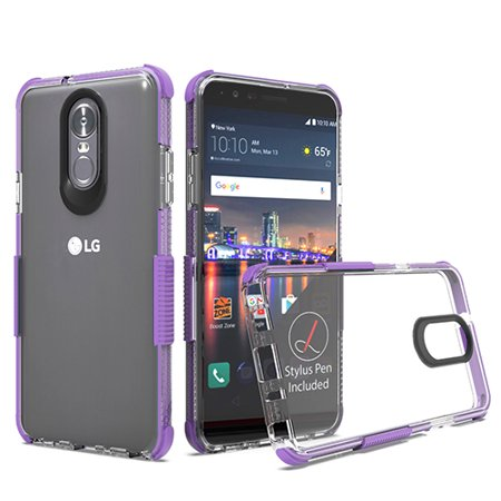 Phone Case For LG Stylo 4 - Phone Case Clear Shockproof Hybrid Bumper Rubber Silicone Gel Cover Transparent Clear - Purple Purple Silicone Rubber