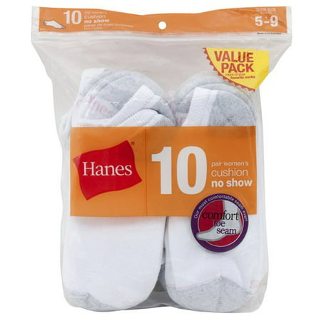 Hanes Women's Cushion No Show Socks, 10 Pack, 5-9