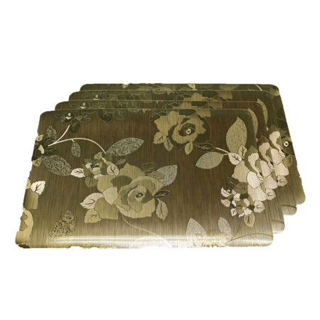 TEMO Placemats with Table Runners, PVC Heat Resistant Table Mats for Kitchen Dining Table, Washable Place Mats, Set of 4 [Golden rose] ()