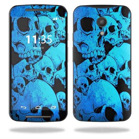 MightySkins Protective Vinyl Skin Decal for Motorola Moto G (2nd Gen) wrap cover sticker skins Blue Skulls