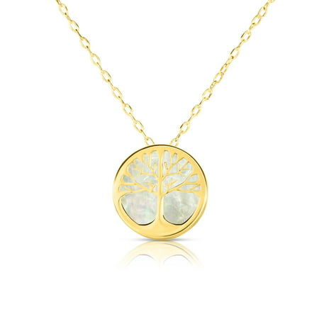 14K Yellow Gold Mother Of Pearl Tree Of Life Pendant Necklace, 16