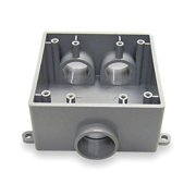 CANTEX Weatherproof Electrical Box,  2-Gang,  3-Inlet,  PVC 5133402