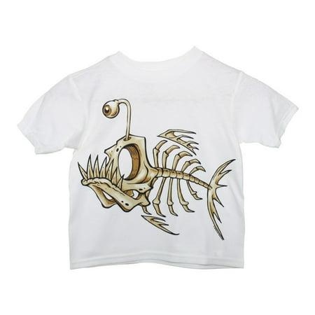 Unisex White Tan Bone Fish Print Short Sleeve Cotton
