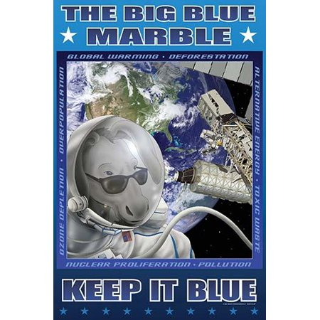 Environmental Poster with Blue the Donkey in a Space Suit in Outer space doing a space walk besides the Space Station with the words Global Warming Deforestation Nuclear Proliferation etc Poster Print