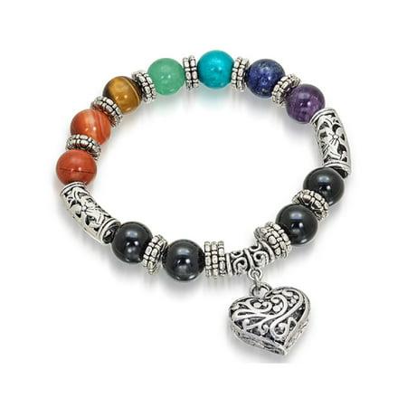 Beautiful Heart Charm 7 Stone Chakra Colorful Healing Stretch Bracelet
