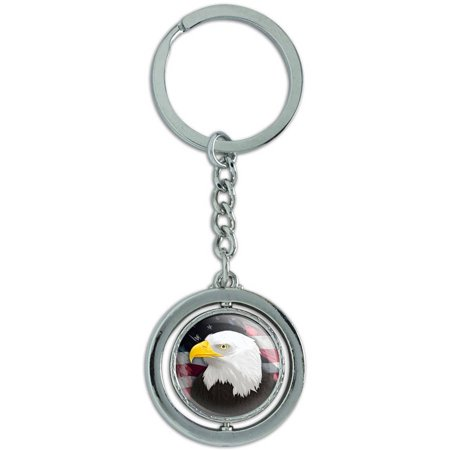 (American Bald Eagle Flag Usa Patriotic Spinning Round Metal Key Chain Keychain Ring)