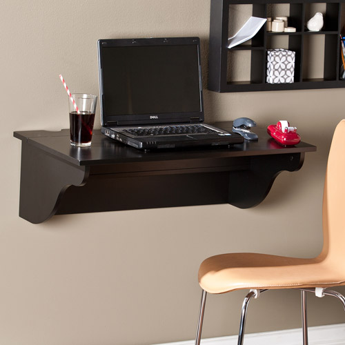 Mays Wall-Mount Desk Ledge, Black