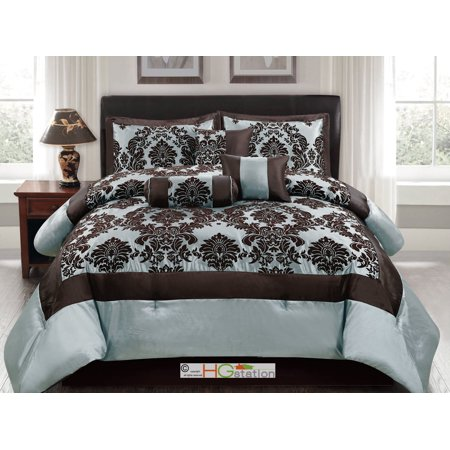 7-Pc Silky Poly-Satin Flocking Damask Floral Square Comforter Set Blue Brown Queen ()