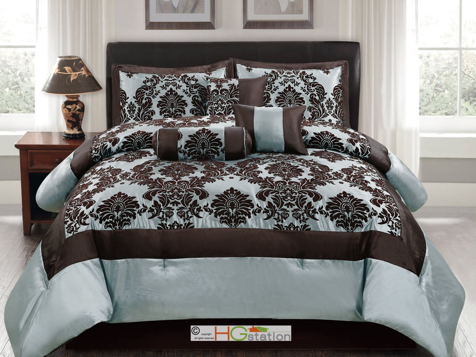 7 Pc Silky Poly Satin Flocking Damask Floral Square Comforter Set Blue Brown  Queen