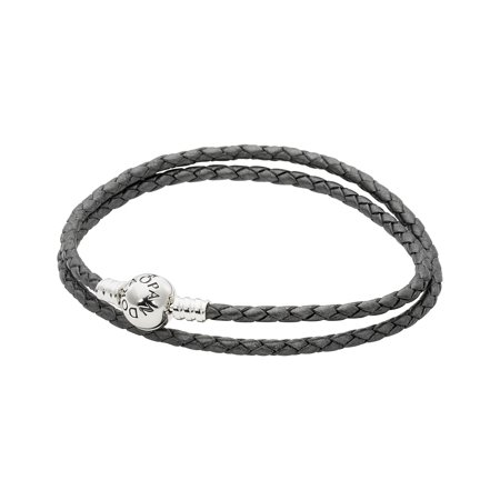 Silver leather bracelet, double, silver grey Bracelet 35 cm (35 Cm Natural)