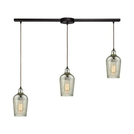 ELK Lighting 108 Hammered Glass 3 Light Staggered Linear Pendant Light