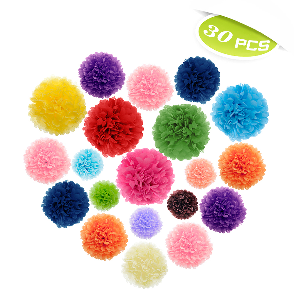 (Price/30 PCS)Aspire 30 Pcs Rainbow Pom Poms, Tissue Paper Flower, Mixed Colors & Sizes