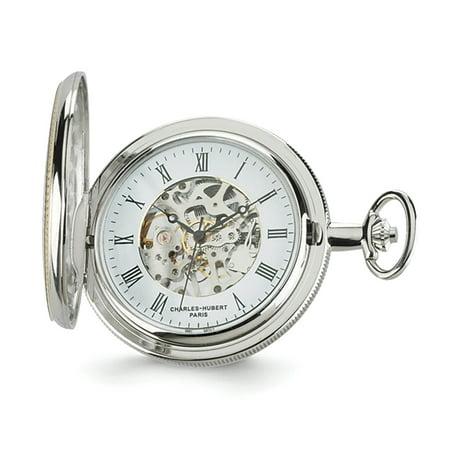 Gold Tone Skeleton Pocket (Lex & Lu Charles Hubert Gold Finish Brass 2-tone Skeleton Dial Pocket Watch XWA3344 )