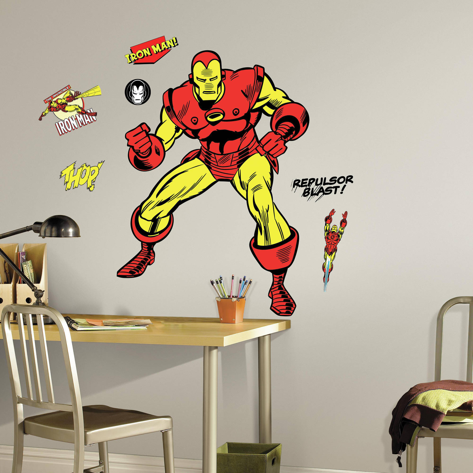 RoomMates Decor Classic Iron Man Comic Peel-and-Stick Giant Wall Decals